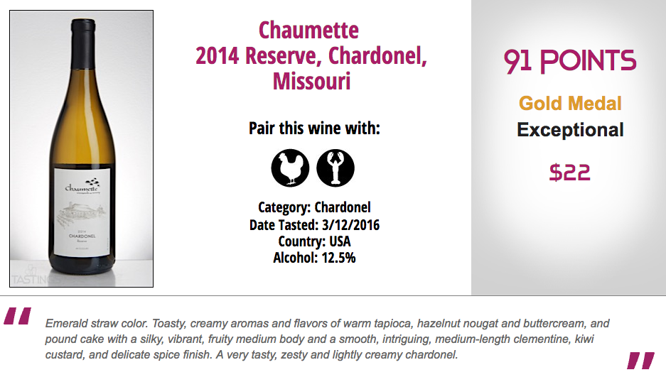 Chardonel reserve 91 points Chaumette vineyards and winery