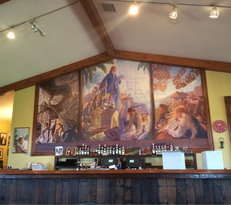 chaumette winery mural, Chaumette Tasting Room, missouri winery, Chaumette vineyards & winery